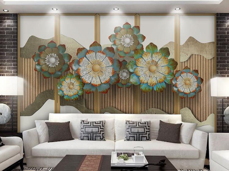 新中式3d立体金色花朵山水电视背景墙