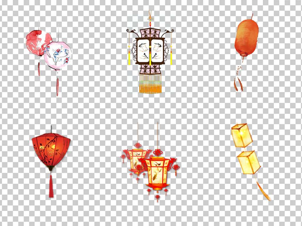 0610灯笼手绘水彩灯笼古典灯笼花灯喜庆灯笼素材免抠