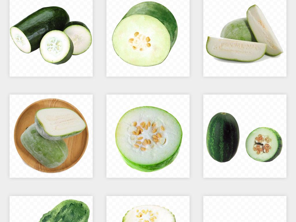 卡通手绘切片冬瓜蔬菜png免扣素材