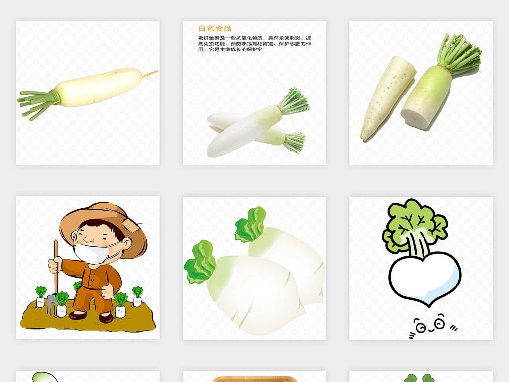 免扣元素 生活工作 食物饮品  > 卡通手绘水萝卜白萝卜png免扣素材