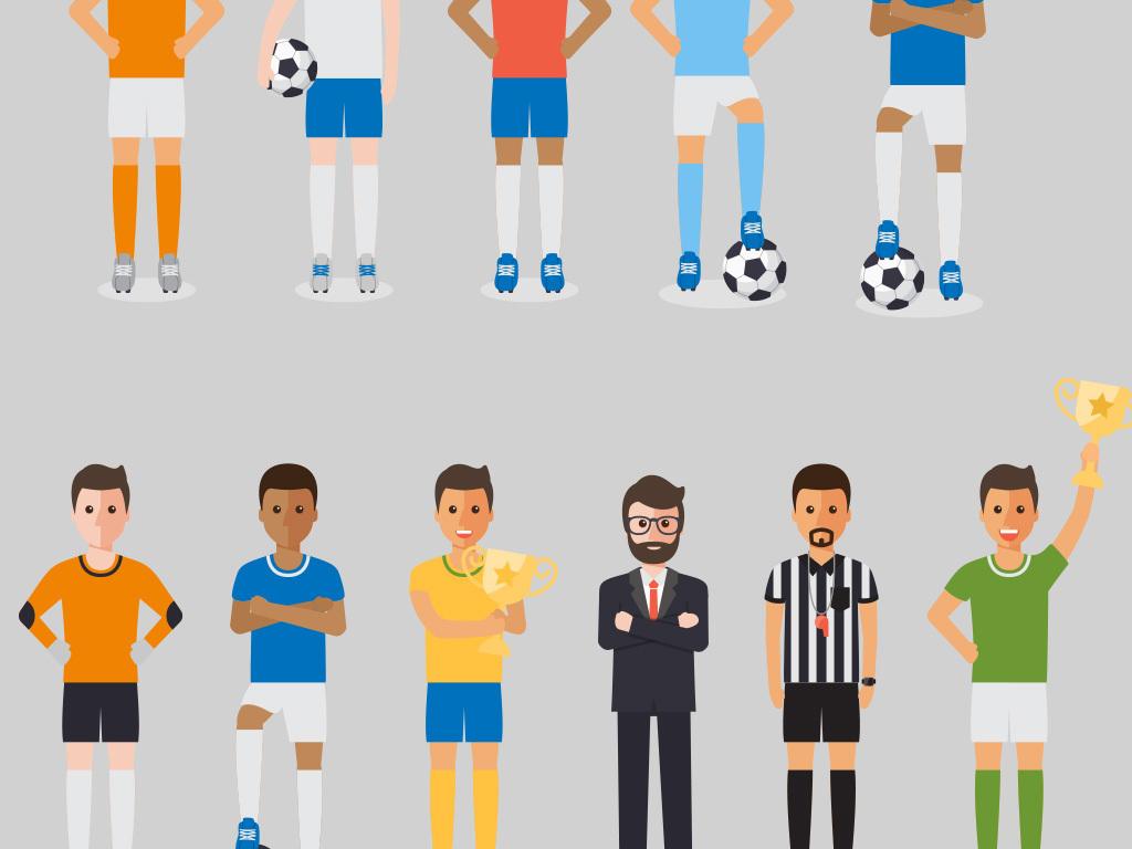 世界杯足球运动员卡通踢足球运动人物素材