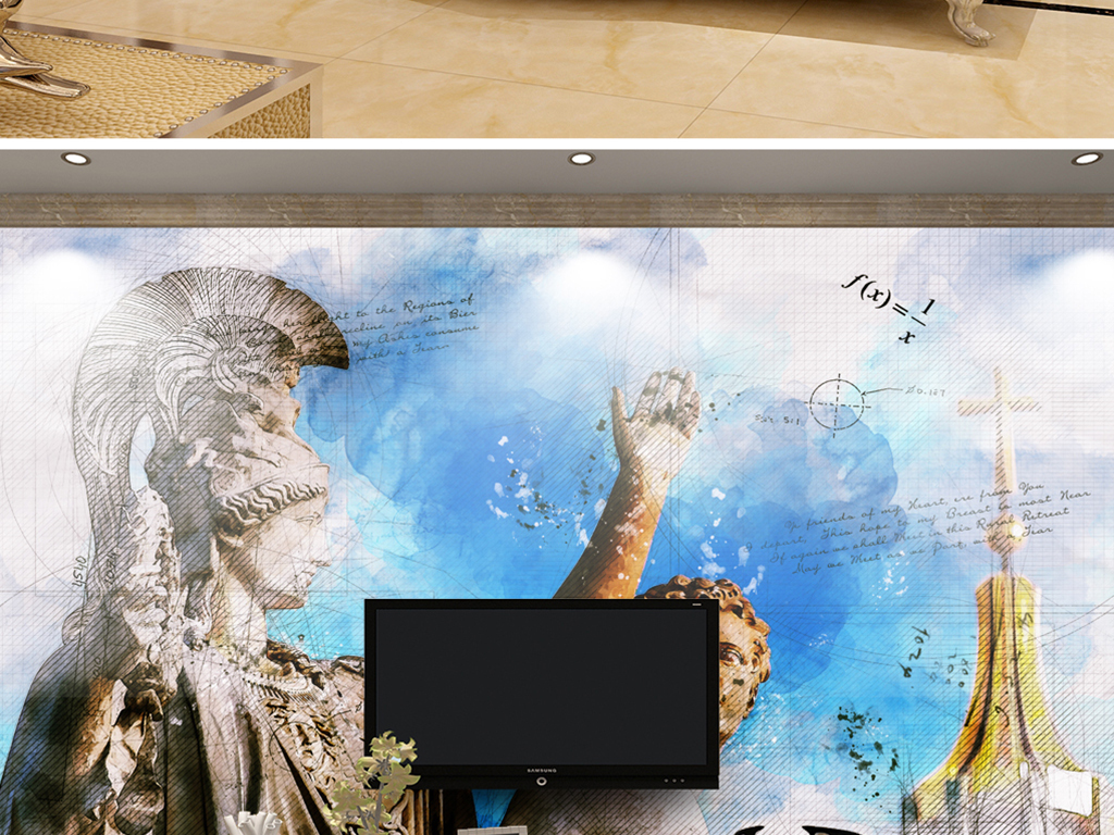 背景墙 电视背景墙 电视背景墙 > 胜利女神耐克手绘线稿  素材图片