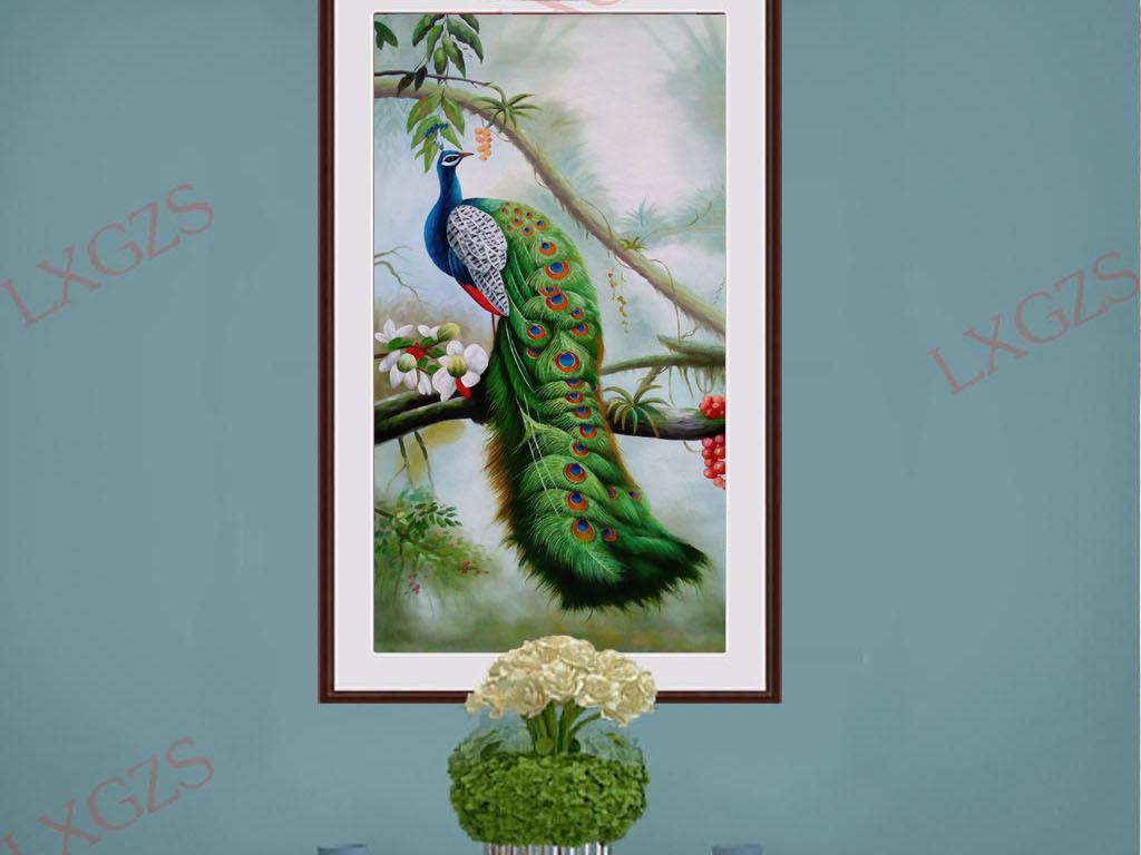 手绘树林孔雀玄关装饰画