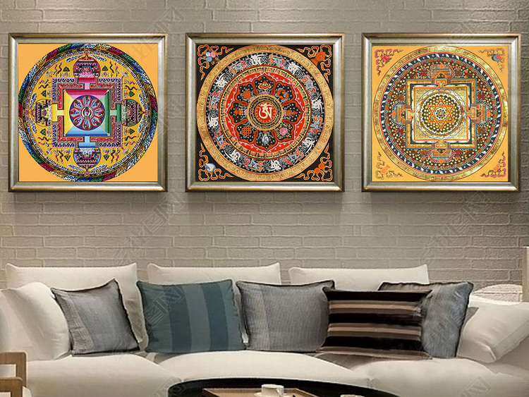 现代中式西藏民族图案唐卡装饰画