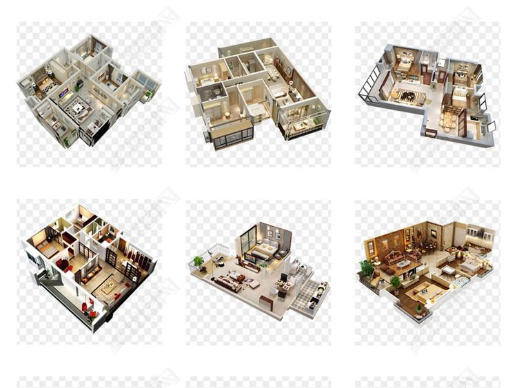 50款精品房地产海报室内户型图3D模型素材