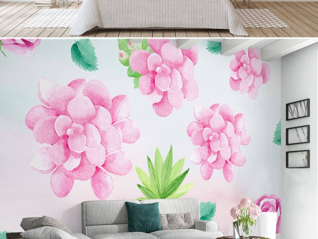 现代简约手绘小清新粉色花卉电视背景墙壁画