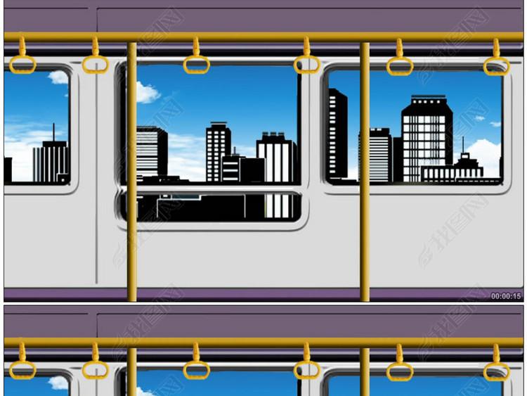小品公交车让座动画场景背景视频素材