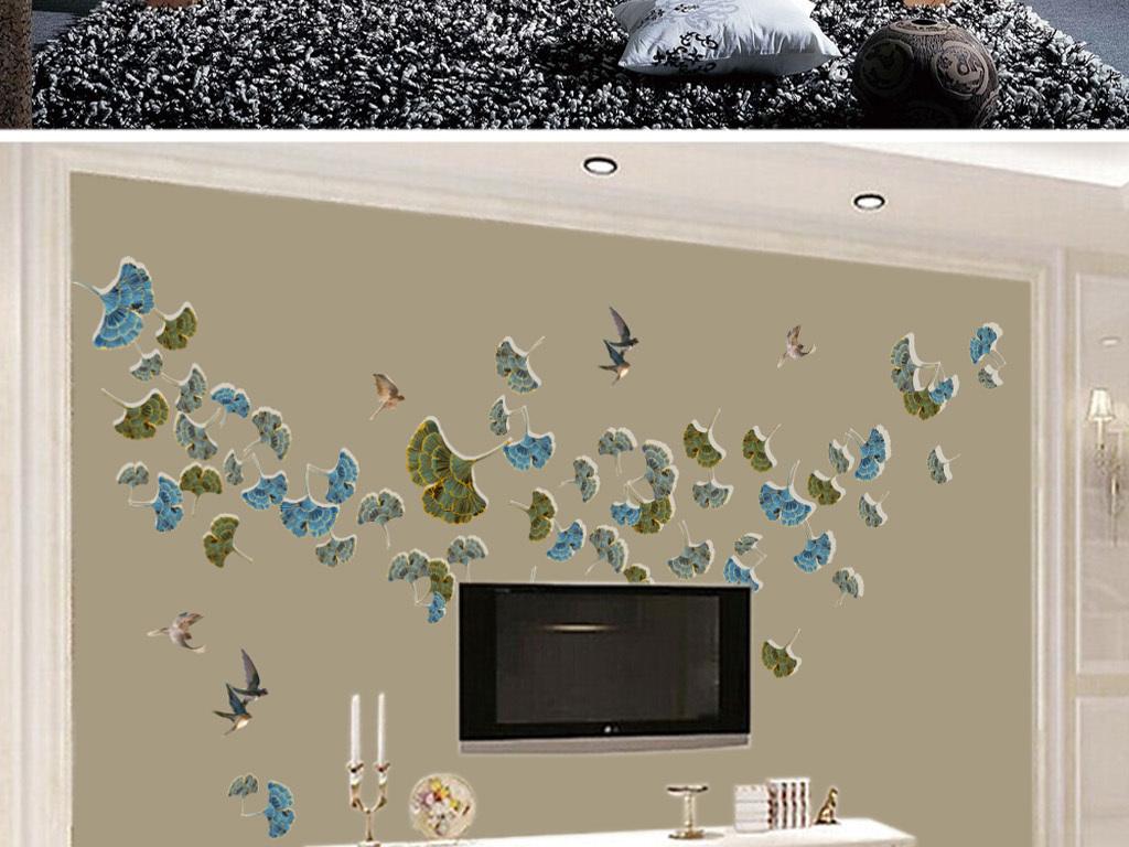 新中式银杏叶飞鸟手绘树叶电视背景墙壁画