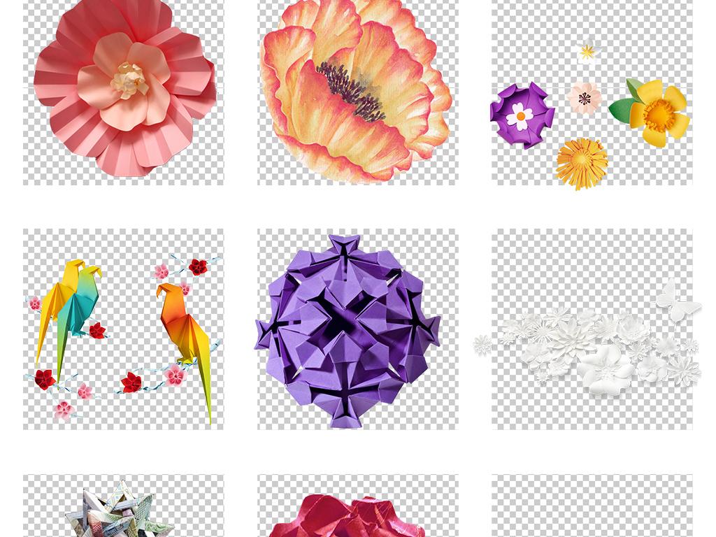 折纸艺术纸花千纸鹤png素材图片_模板下载(95.54mb)