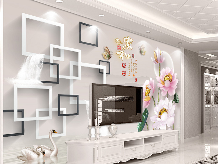新中式3D立体浮雕荷花家和富贵电视背景墙