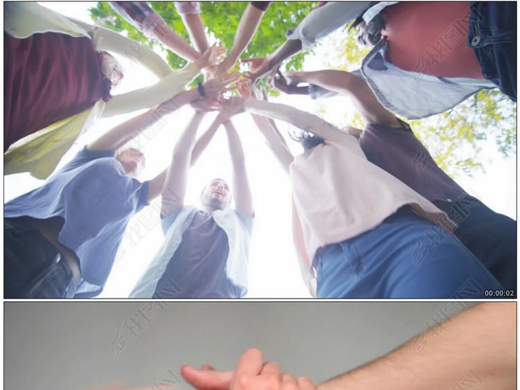 实拍团队合作齐心协力视频素材