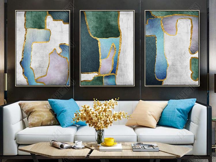 现代北欧简约抽象几何金色画玄关装饰画