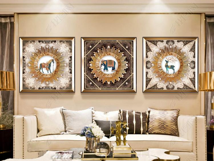 高端欧式复古花纹抽象动物麋鹿马现代简约客厅装饰画