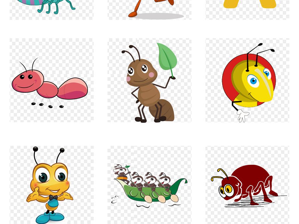 卡通动物笔画幼儿园v卡通png素材蚂蚁和花朵简蜜蜂图片