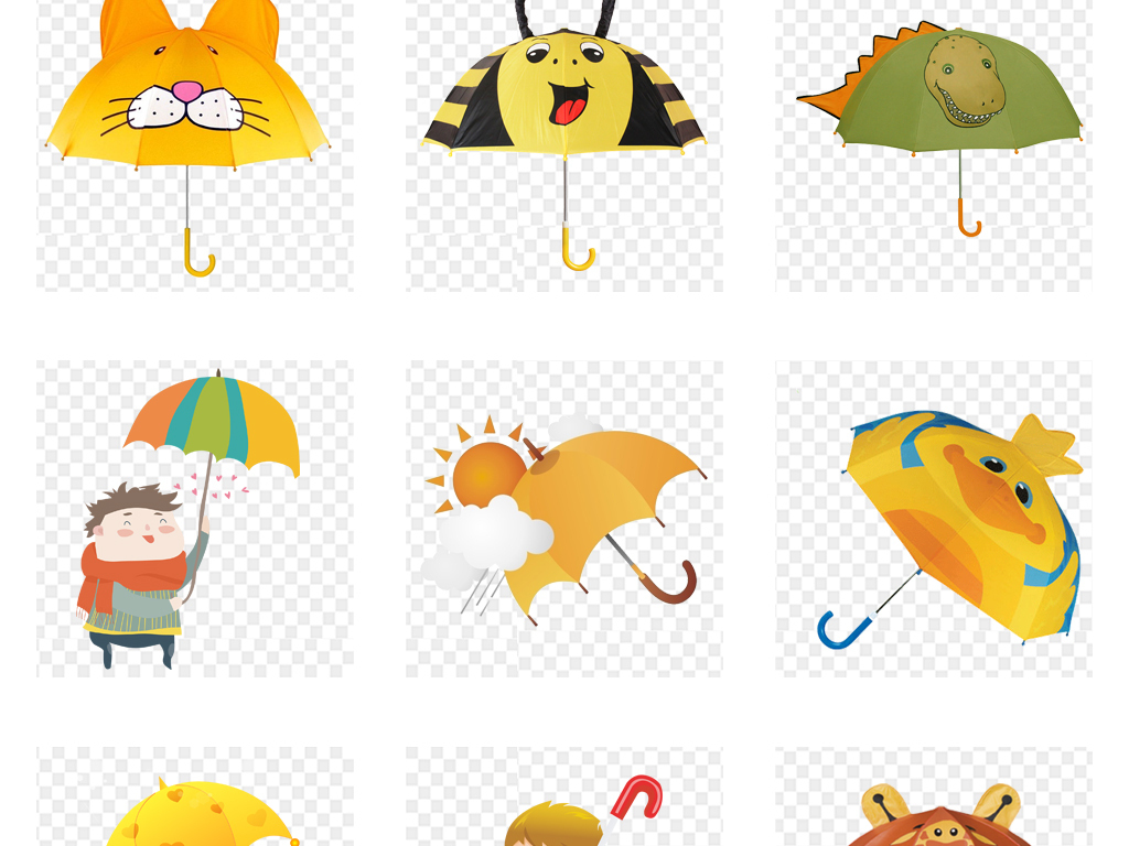 纸伞卡通伞可爱卡通可爱儿童卡通儿童手绘雨伞卡通手绘设计素材卡通