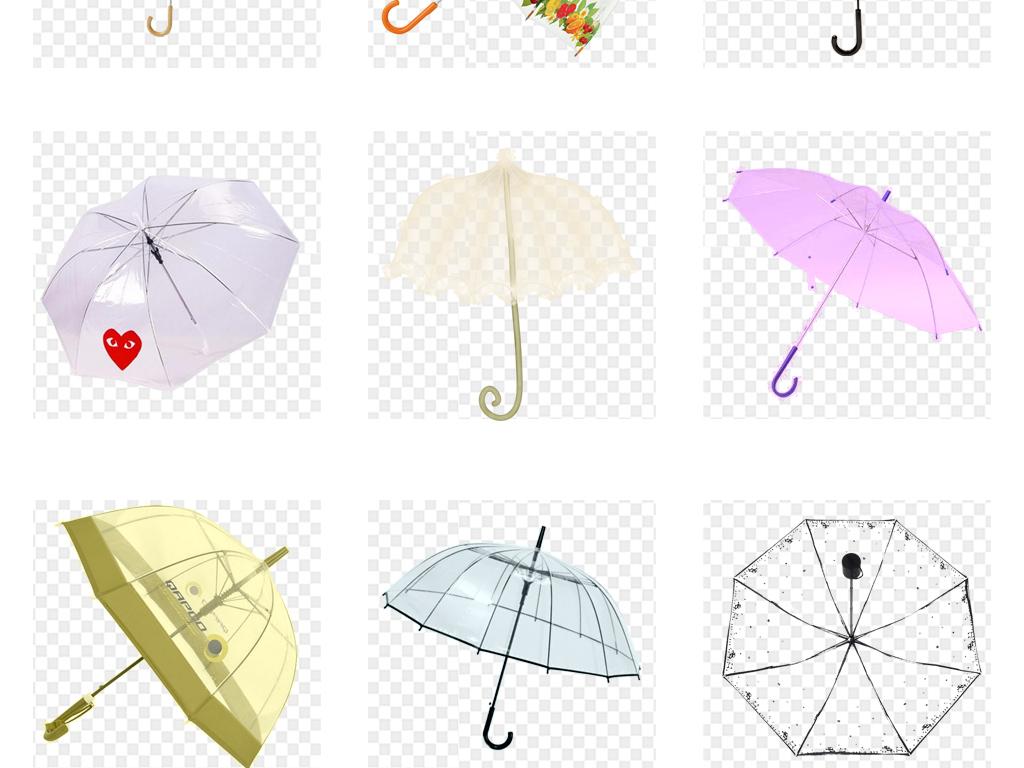 卡通手绘透明雨伞png免扣素材