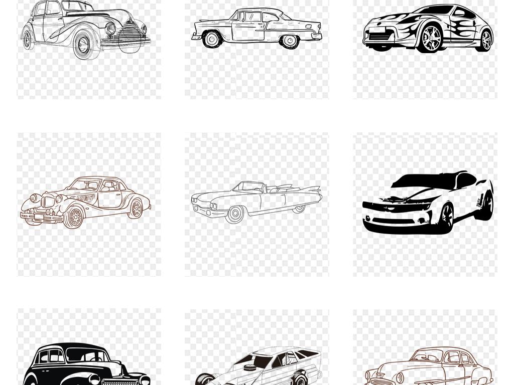 卡通手绘线条线稿复古汽车png免抠素材