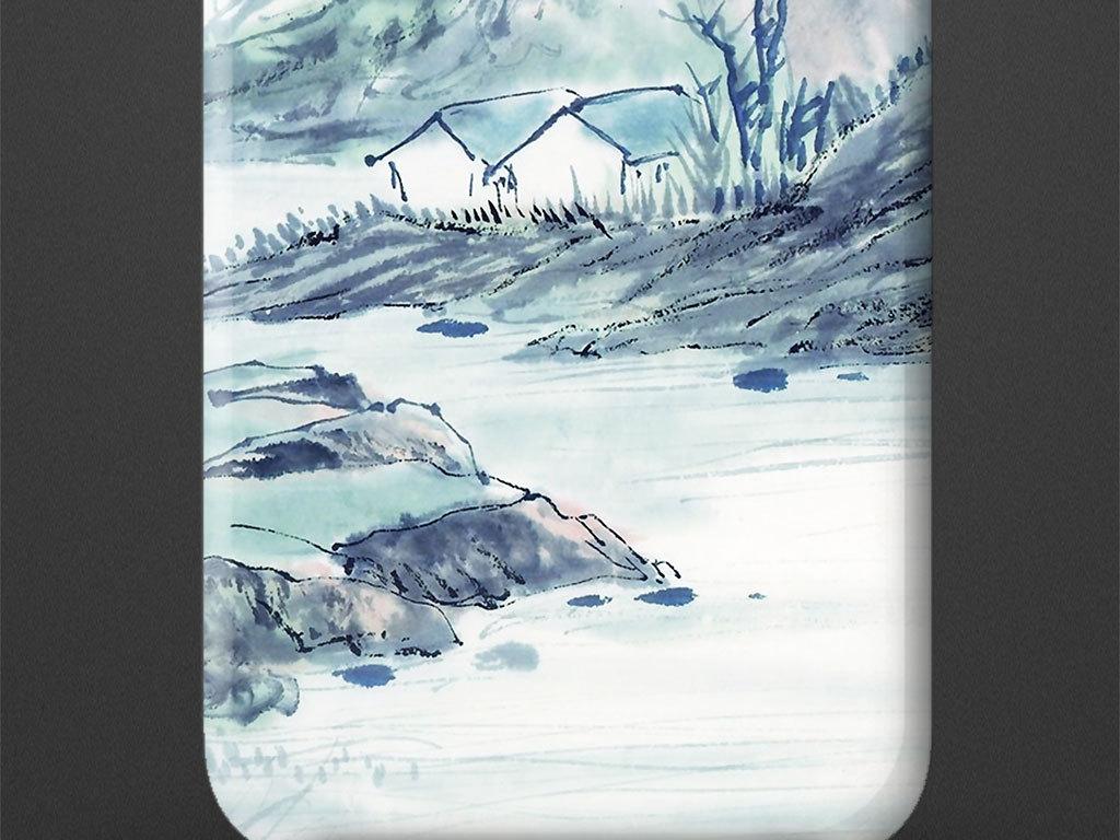 中国风手绘山水风景手机壳图案设计图片_高清素材下载