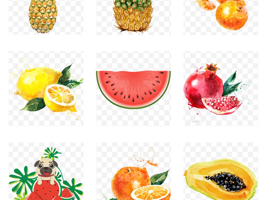 清新夏季果饮夏日冰爽水果手绘水果免扣素材