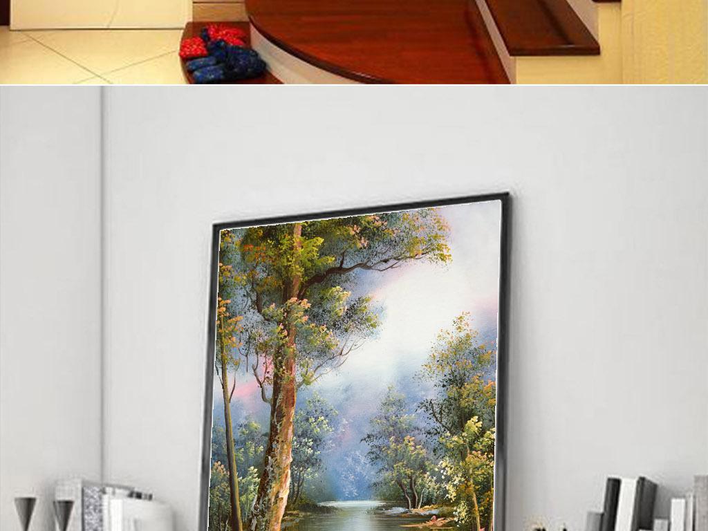 高清手绘艺术公园风景油画图