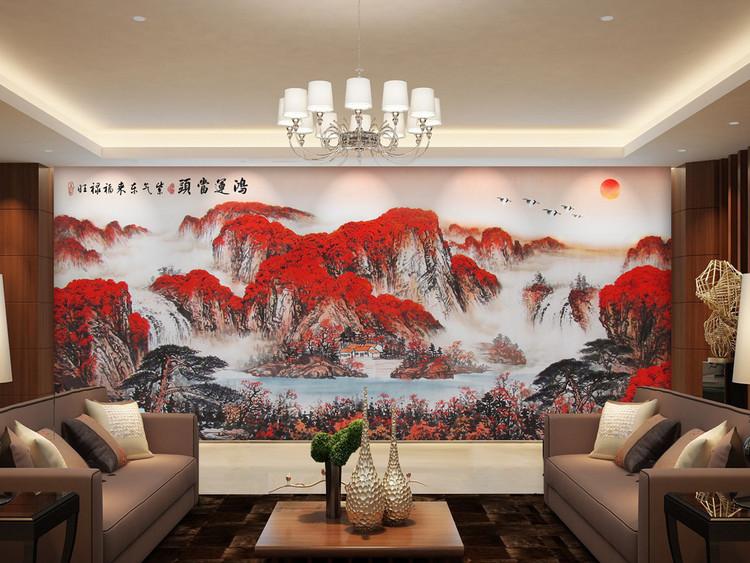 大型鸿运当头山水风景画客厅国画油画背景墙
