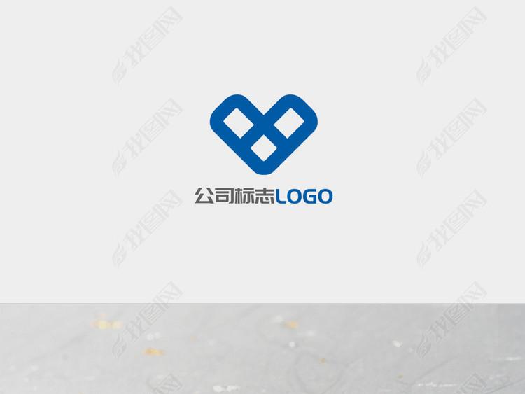 蓝色菱形创意字母V图标LOGO标志设计