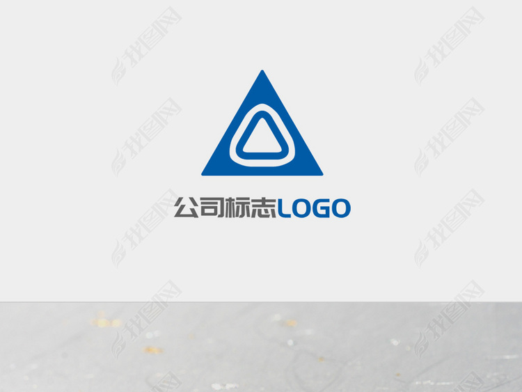 创意蓝色三角形图标LOGO标志设计