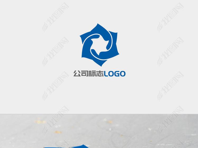 蓝色旋转对称六角星图标LOGO标志设计