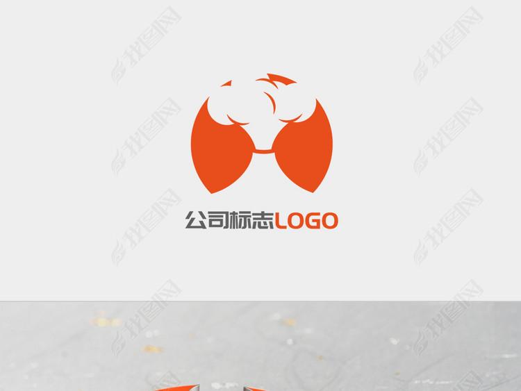 火山爆发橙色圆形图标LOGO标志设计