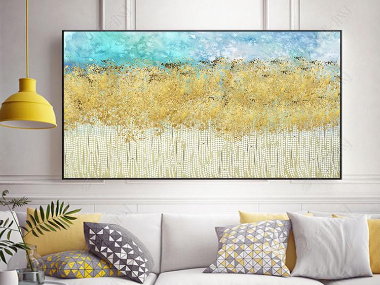 新中式北欧简约抽象金色流金海蓝现代装饰画