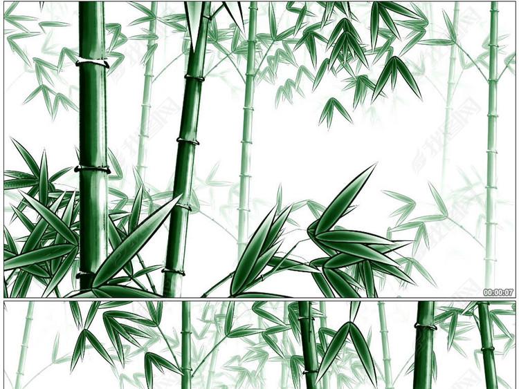 中国风水墨3D绿色竹子动画背景素材