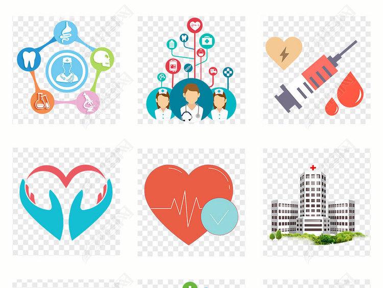 卡通护士医生医院医疗海报素材背景PNG