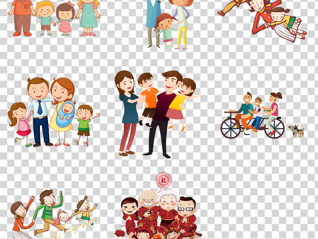 卡通手绘插画快乐一家人一家四口设计元素png