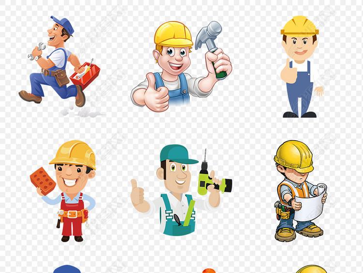 工程师建筑水电工人装修海报素材背景PNG