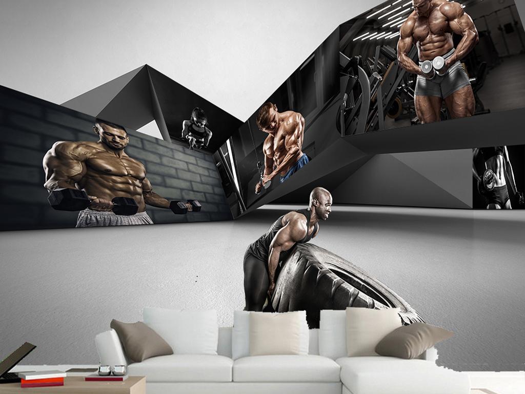 黑色创意欧美肌肉男美女运动健身背景墙图片设计素材 高清psd模板下