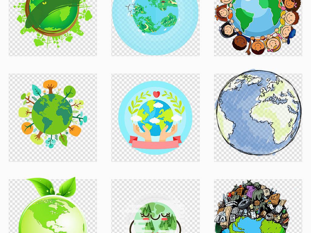 原创ai/独立png/卡通扁平化手绘环保绿色生态保护地球插画海报