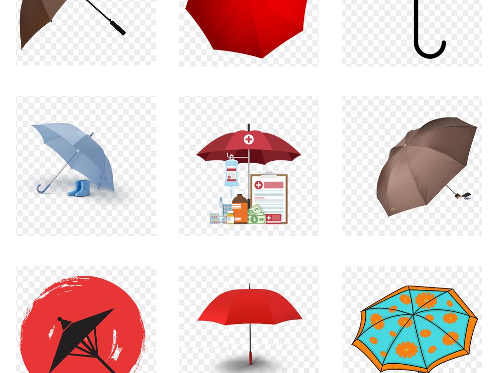 卡通手绘雨伞海报设计png免抠素材