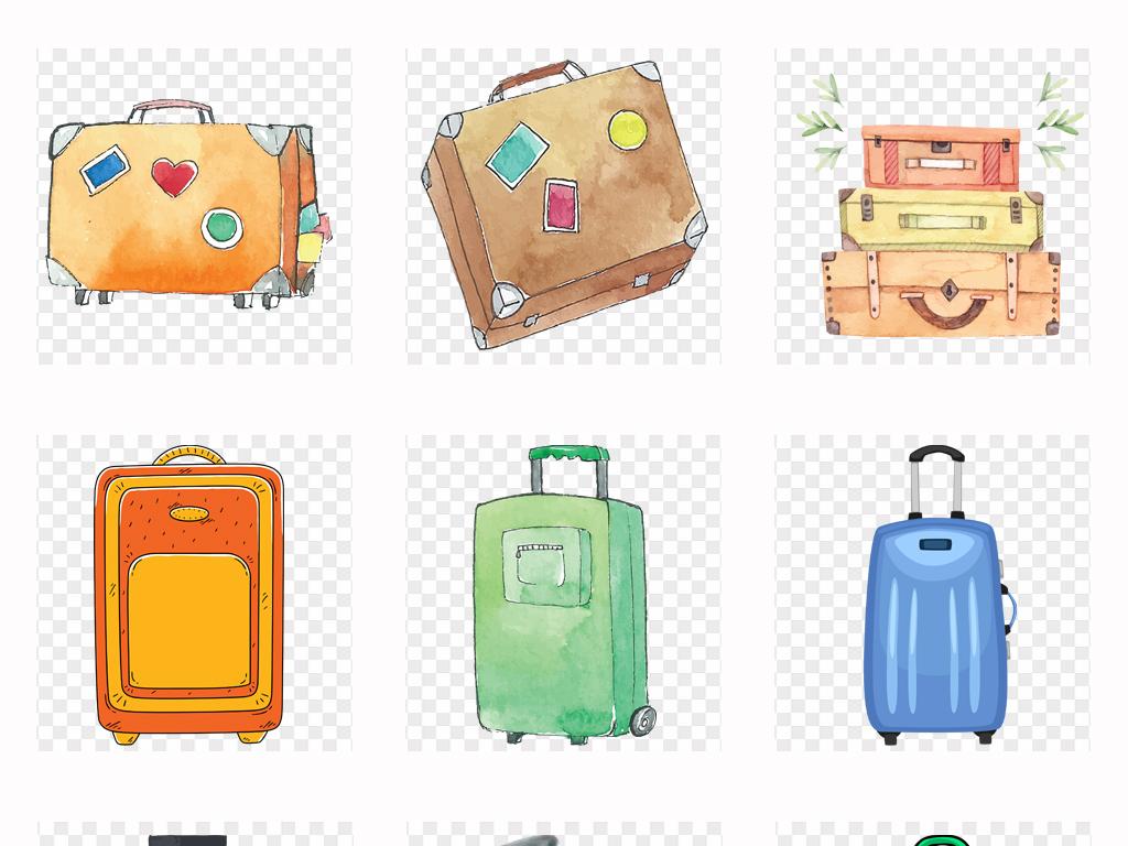 水彩鸟水彩行李箱旅行
