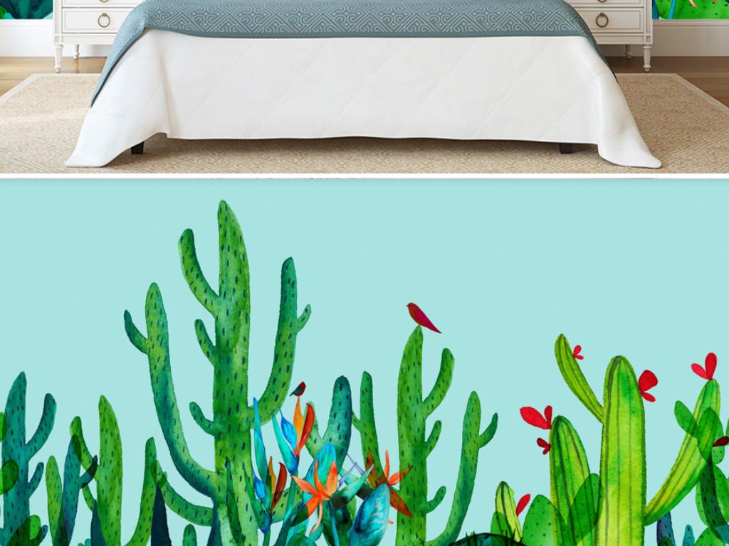 北欧抽象手绘植物仙人掌电视背景墙壁画