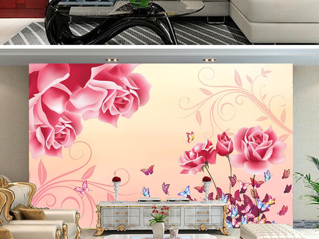 粉色浪漫手绘玫瑰花蝶恋花蝴蝶花朵背景墙