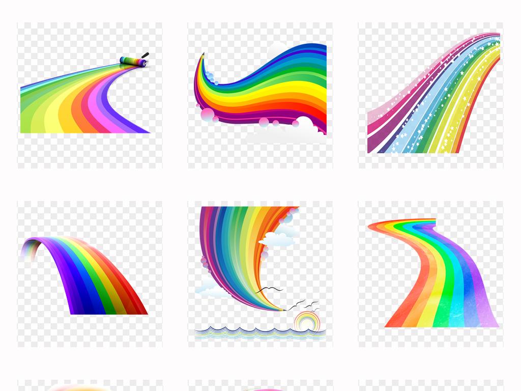 可爱卡通手绘唯美彩虹水彩彩虹飘带png素材
