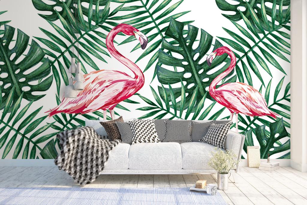 手绘热带雨林火烈鸟背景墙