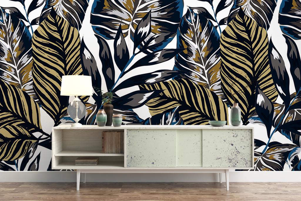 手绘热带植物雨林背景墙