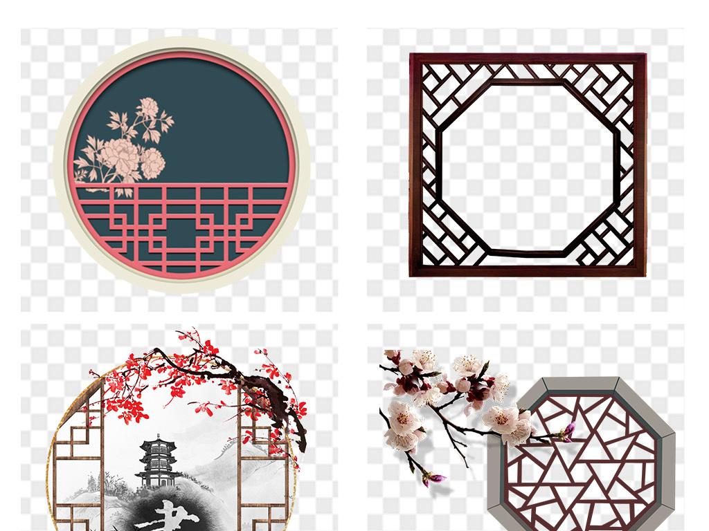 古代门窗红色木窗格栅窗户古代花窗实木花窗圆形木质窗户