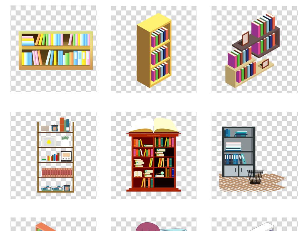 图书馆卡通书架图书书籍海报背景png素材