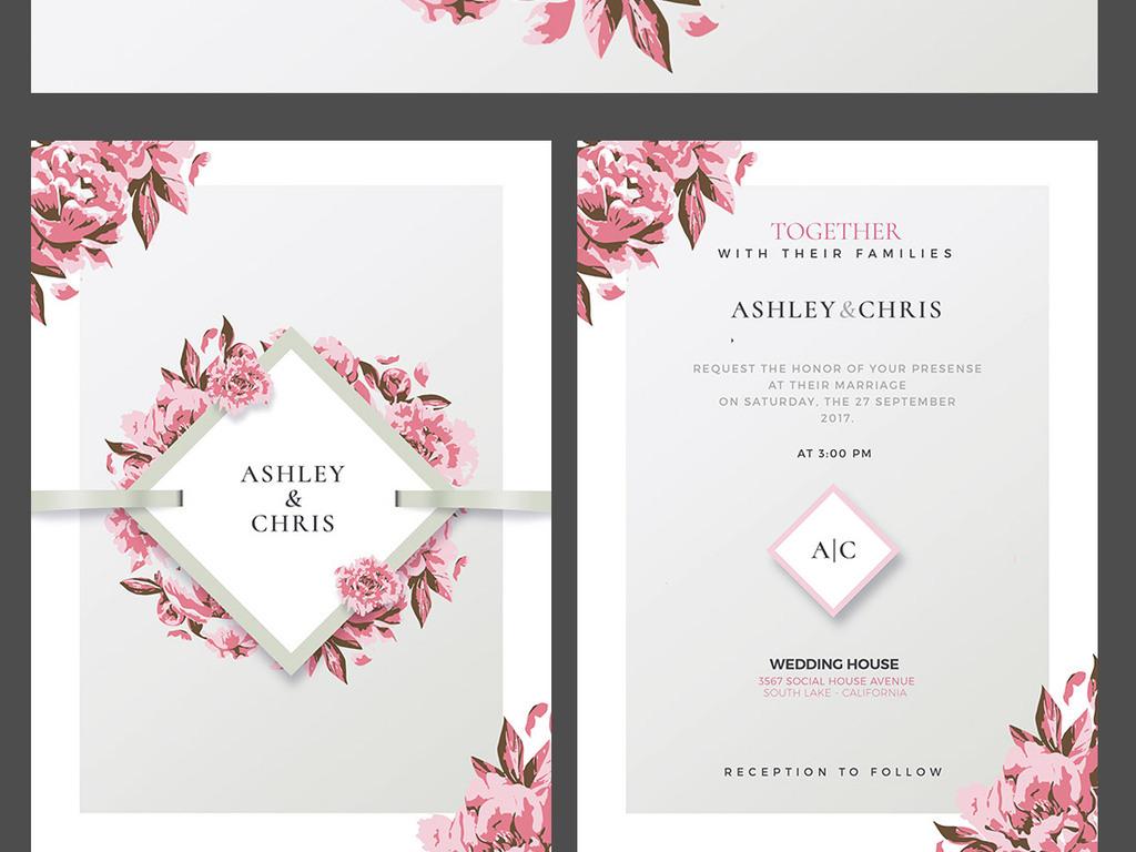 手绘水彩浪漫西式婚礼邀请函卡片设计