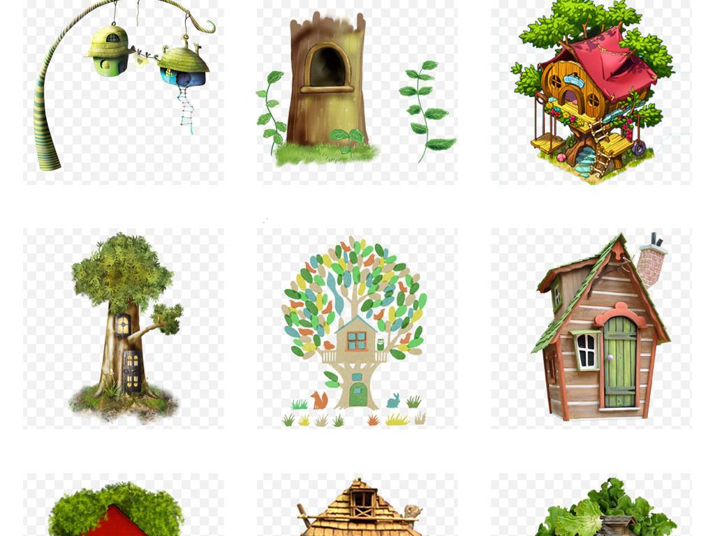 50款可爱卡通手绘梦幻树屋水彩创意童话城堡png免扣素材