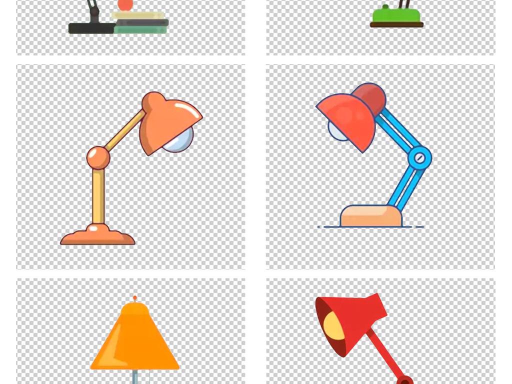 卡通手绘线条彩色台灯图标免扣png素材