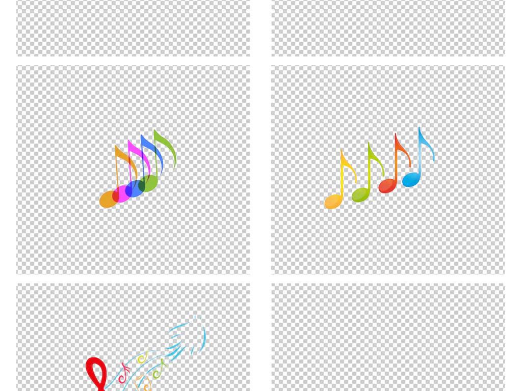 手绘卡通彩色音乐音符音阶音乐png素材