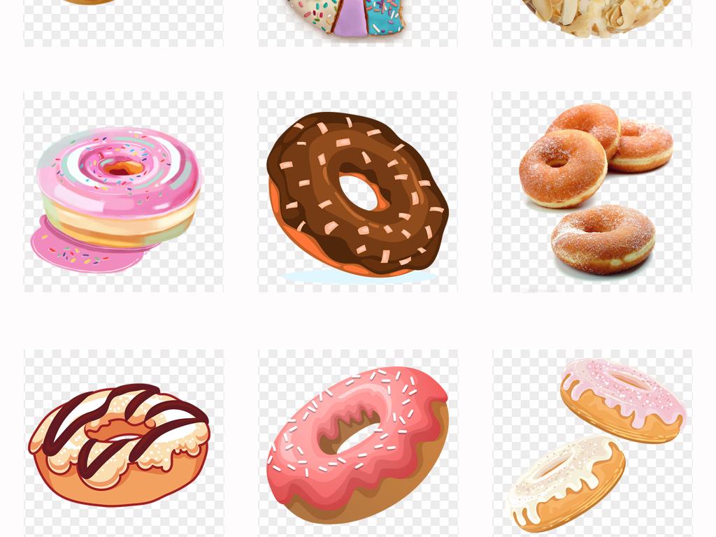 手绘蛋糕店甜甜圈美味甜甜圈糕点海报png素材